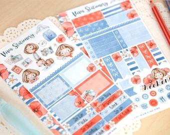 Bon Voyage Vivianne ~ Mini Decorative Sticker Kit, two sheets, Personal Size Planner ~ For your Diary, Journal, Kikki K, Kate Spade, Midori