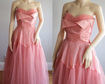 SALE -Sublime 50s Ashes of Roses Debutante/Prom/Bridal Dress