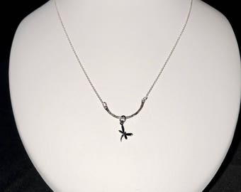 Delicate Sterling Silver Necklace with a Tiny Dragonfly Charm