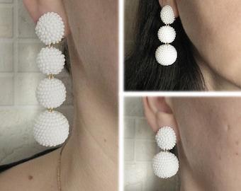White Bon Bon Earrings, Beaded Balls White Earrings, Seed Bead Balls Earrings, Balls Drop Earrings, White Round Earrings, Bon Bon White