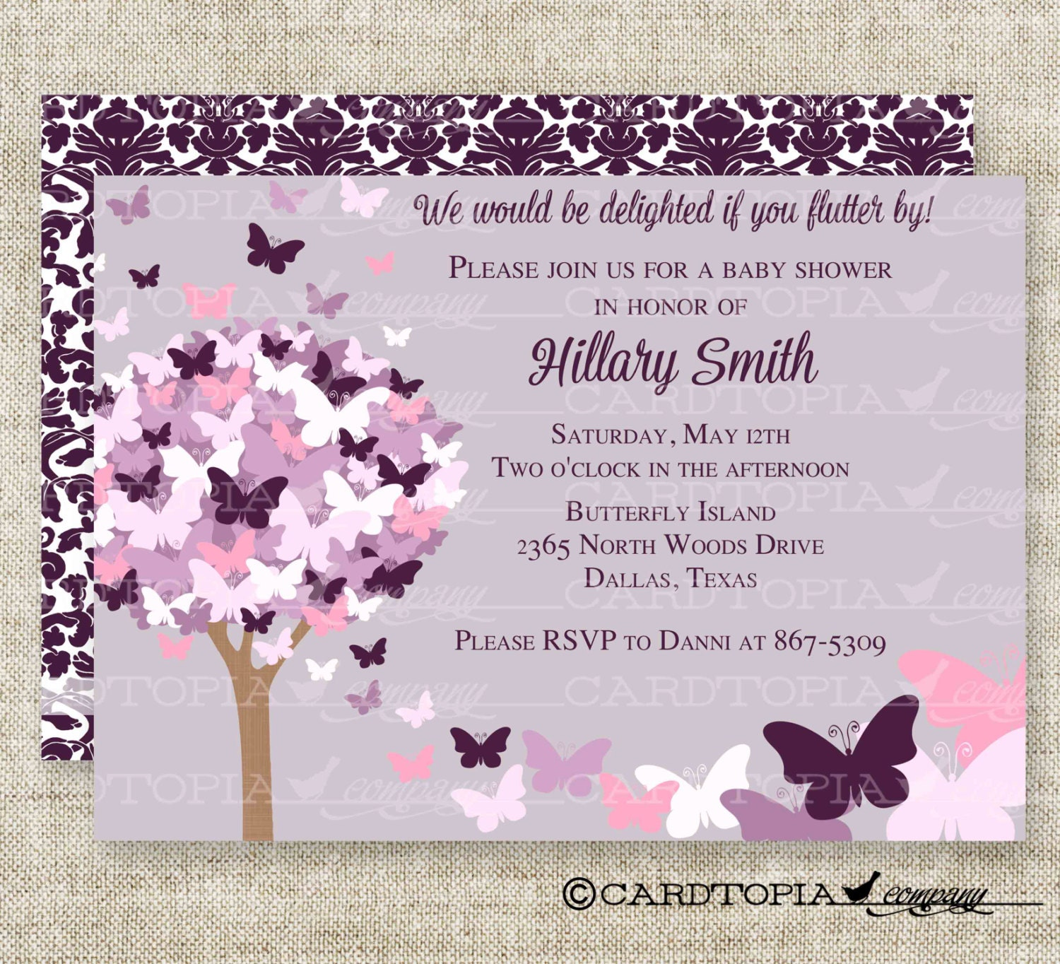 BUTTERFLY BABY SHOWER Invitations Pink Purple Butterfly Fairy
