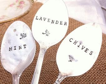 3 stamped Silverware Garden Markers Blithe Vintage