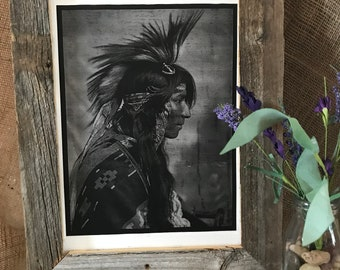 Native American Indian with Head Feathers,Canvas Print, Rustic Wood Frame, Western Decor, Southwestern Decor