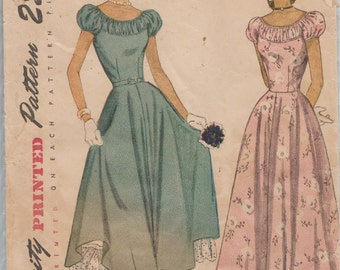 Simplicity 2392 / Vintage 40s Sewing Pattern / Dress Gown / Size 15 Bust 33