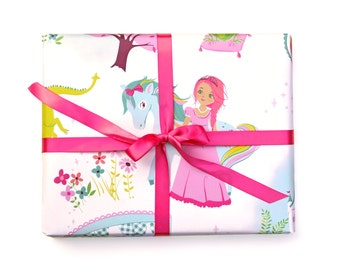 Wrapping Paper Princess Dragon Fairytale - Birthday wrapping paper