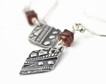 Garnet and Sterling Silver Earrings, Diamond Drops, Linear Geometric Pattern, Argentium Silver Earwires, Handmade