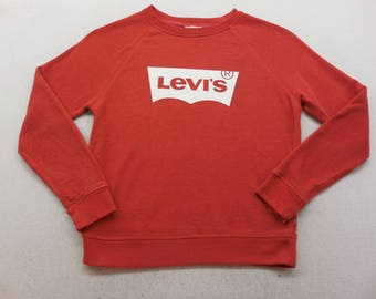 New Vintage Mens Levi's Logo Batwing Graphic Sweatshirt Small