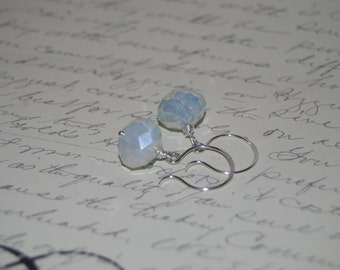 White Milk Crystal Earrings on Sexy French Style Ear Wires