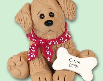 Golden Retriever Personalized Dog Christmas Ornament HANDMADE Polymer Clay - Limited Edition