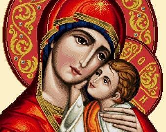 Mary and Child Jesus -Vatican Design -Cross Stitch PDF Pattern