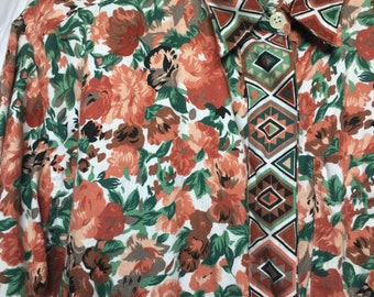 80s90s KRAZY KAT Long Sleeve Button Down ~ size Medium Floral & Southwestern design