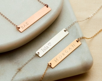 Reversible Personalised Bar Necklace - 14k Gold Fill, Rose Gold Fill, Sterling Silver, Personalised Necklace, Gift For Her - NB02-G/RG/S