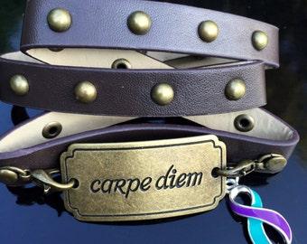 Teal and Purple Ribbon Bracelet - Carpe Diem - Domestic Violence Awareness / Rape Survivor / PKD / Polycystic Kidney Disease Gift