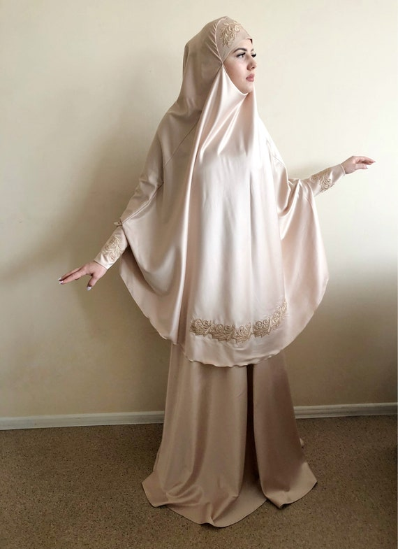 golden nikah khimar Muslim engagement wedding suit jilbab Elegant islamic beige Silk outfit dress beige qIwnTH
