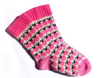 Wool socks Pink Ladybird Knit wool socks Women Socks Hand made wool socks Gift socks