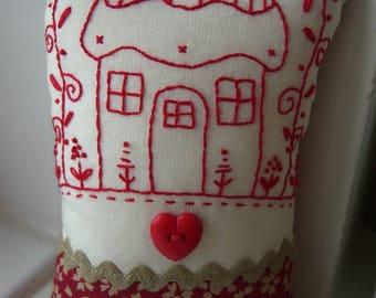 Red & Cream Hand Embroidered Pincushion