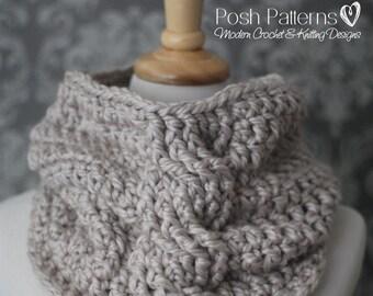 CROCHET PATTERN - Crochet Cowl Pattern - Infinity Scarf Crochet Pattern - Crochet Cables Pattern - Toddler, Child, Adult Sizes - PDF 436