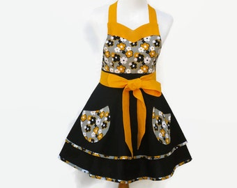 Women's Black & Yellow Retro Apron, Gray and Yellow Floral Apron,  Black Hostess Apron, Gray Floral Retro Apron, Personalized Floral Apron