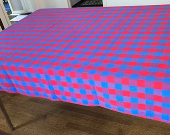 Tablecloth, red and blue plaid or check pattern