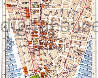 vintage nyc map old map 1915 lower manhattan new york city colorful antique map instant download digital printable map