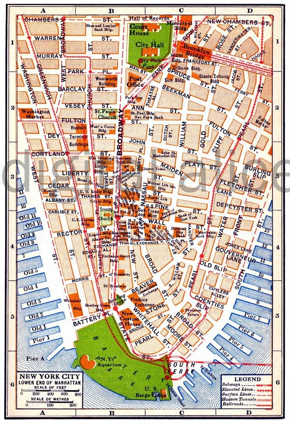 Vintage NYC MAP Old Map 1915 Lower MANHATTAN New York City