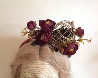 Burgundy blooms bird cage alice band fascinator