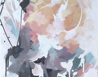 Peinture abstraite à l'acrylique, Tableau abstrait contemporain unique, peinture moderne sur toile, oeuvre d'art originale