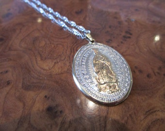 Our Lady of Guadalupe Silver and Gold Pendant