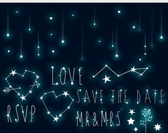 Stars clipart - wedding clip art constellation shooting stars starry sky star romantic love save the date RSVP galaxy personal commercial