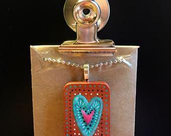 Teal Heart with Pink on Copper