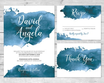 Blue Watercolor Wedding Invitations, Printable Wedding Invitation Set, Watercolor Invite, Navy Wedding Invitation, Modern Wedding, Navy