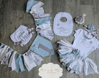 """The """"Blue Winter Onederland"""" Collection.Blue & Silver Fabric Tutu,Cake Smash outfit, First Birthday Girl, Birthday Outfit, High Chair Banner"""