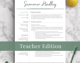 teacher resume template for word and pages 1 3 page educator resume creative - Resume Template For Teachers