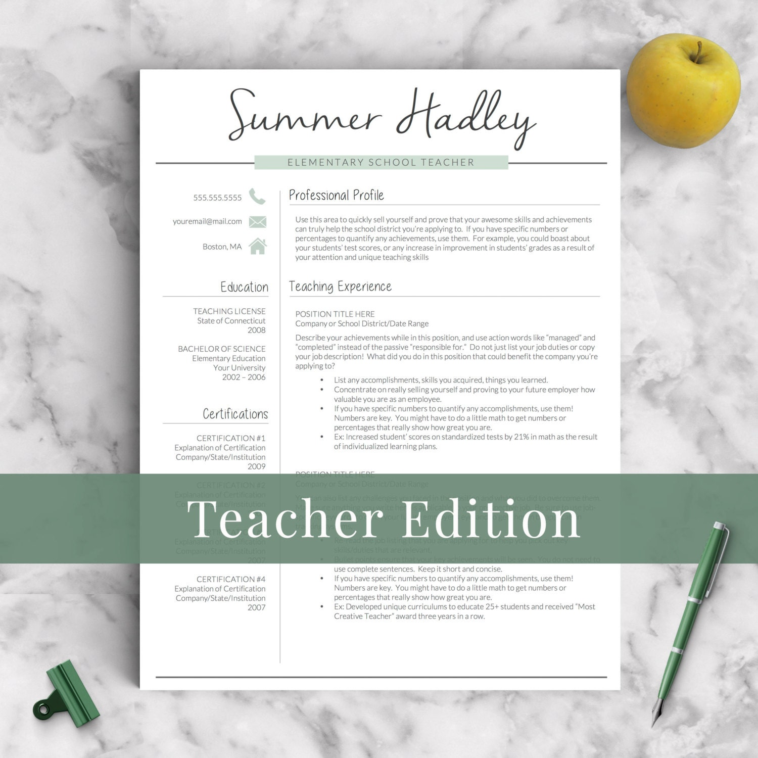 Teacher Resume Template for Word and Pages 1-3 Page Educator