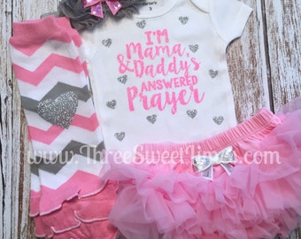 Baby Girl Outfit | I'm Mama And Daddy's Answered Prayer | Optional Leg Warmer Headband Tutu Bloomer | Pink Silver Glitter | New Baby Shower
