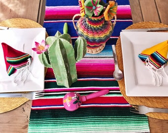 Serape table runner, mexican table runner, fiesta decorations, mexican party decorations, southwestern decor, fiesta party decorations, BLUE