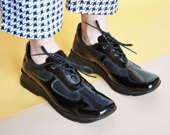 90s RAVE sneakers PATENT LEATHER sneakers platform sneakers club kid sneakers chunky sneakers square toe sneakers Size 9.5 us / 7 uk / 41 eu