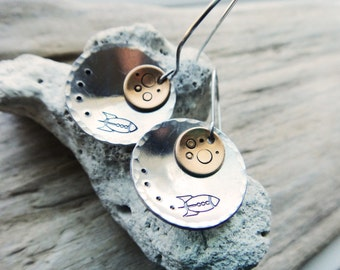 Rocket To The Moon Earrings- Yellow Moon Stamped Jewelry - Astronomy Earrings Space Jewelry- Moon Craters Aluminum Earrings
