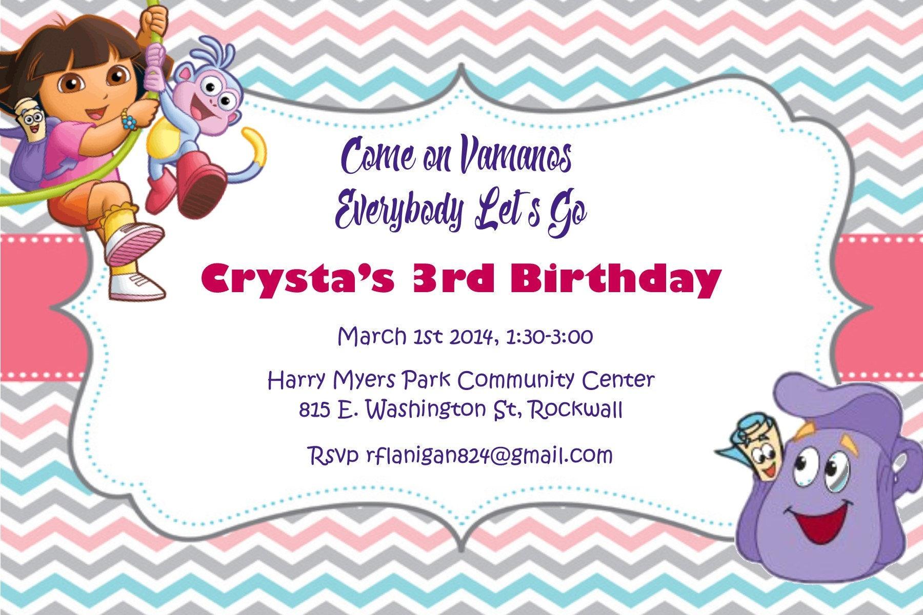 Girls Dora The Explorer Printable Birthday Party Invitation