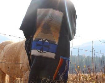 Tipi ways wool poncho/shawl/hooded wool wrap shawl/sewn in genuine pendleton wool/ re appareled pendleton wool throw/outlander/tribal/magic