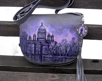 City landscape, natural leather, women bag, shoulder bag, turquoise, castle, house, author's painting, drawing, landscape