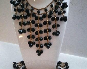 ON SALE Bib Necklace Bracelet Set, Vintage Statement Black Glass Beaded Art Deco Old Hollywood Glamour 1950's 1960's Vintage Jewelry