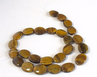 Tiger Eye Beads-Flat Oval Tiger Eye Beads-Brown Tan Color-Polished-Vintage