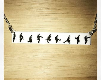 Monty Python Inspired Ministry of Silly Walks Acrylic Necklace