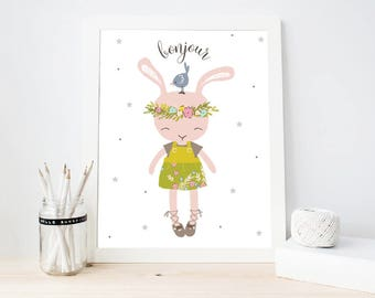 Nursery Wall Art, Bunny art print, Girly Room Decor, Cute Bunny Nursery Printable, kids room decor (ArtPrint B18)