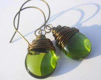 Olivine Green Earrings Wire Wrapped Earrings Tear Drop Earrings Wire Wrapped Jewelry Handmade Dangle Earrings