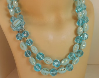 Vintage West Germany 2 strand beaded lucite necklace, cluster clasp, aqua blue with gold accents, stocking stuffer gift for her