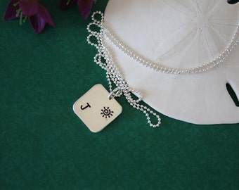 Personalized Initial Charm Square, Initial Jewelry, Sterling Silver Charm, Mom Necklace, Initial Tag, Monogram Necklace