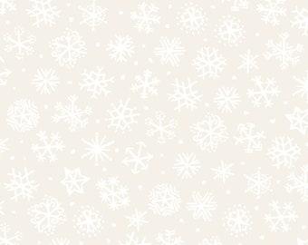 Four Seasons - Per Yard - In the beginning Fabrics by Jason Yenter - White snowflakes on cream