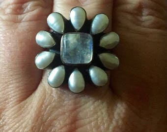 Nicky Butler Rainbow Moonstone Cultured Pearl Sterling Silver Ring